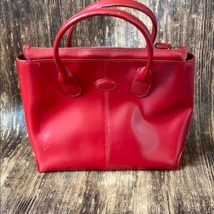 Tods red leather tote